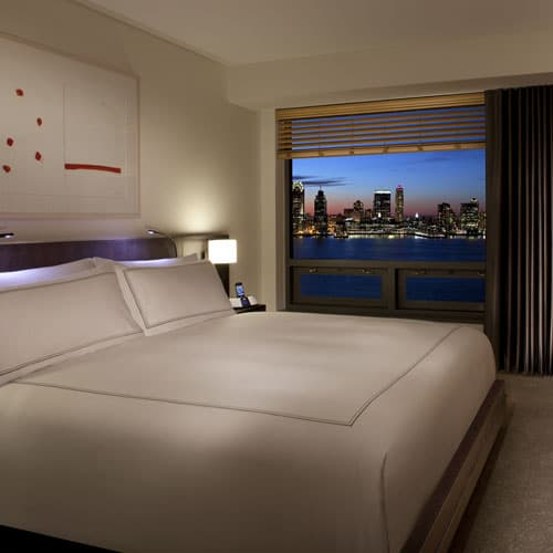 Hudson River View Suites have 430 square feet of space and feature private bedrooms with stunning views of the Hudson River.